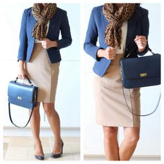 Camel skirt + navy blazer + leopard scarf - navy purse - pumps - ootd // StylishPetite.com