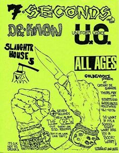 7 Seconds/Dr Know/Uniform Choice Music X, Music Flyer, Rock Music, Punks Not Dead, Psychobilly, Music Photo, Cool Posters, Concert Posters, New Wave