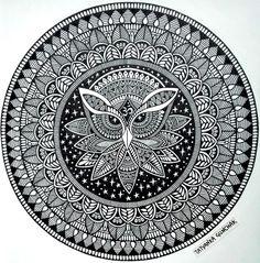 owl - finish :) by Tatyanka-Gunchak on DeviantArt Easy Mandala Drawing, Mandala Art Lesson, Mandala Doodle, Mandala Artwork, Doodle Art Drawing, Simple Mandala, Mandala Painting, Moon Mandala, Drawing Ideas