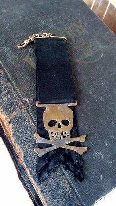 Very RARE 19th century Skull and Crossbones watch fob by The Sanatorium