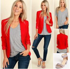 outfit rojo Polo plomo y saco rojo Bleipolo und rote Jacke Mode Outfits, Office Outfits, Chic Outfits, Spring Outfits, Fashion Outfits, Curvy Outfits, Red Blazer Outfit, Look Blazer, Blazer Fashion