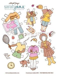Paper Dolls - PDF Printable - School Days - 6 dolls and outfits