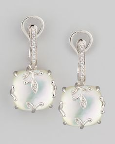 18k White Gold Vine Mother-of-Pearl & Diamond Earrings by Frederic Sage