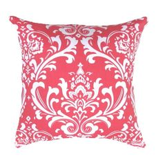"Coral Pillow Cover Coral & White Damask / Ozborne Accent Pillow Covers .16"",17"",18"",20"" 24"" 26"", Lumbar Pillow or Euro Sham"