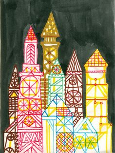 Crystal Cities (via Rob Dunlavey Illustration) Classroom Art Projects, School Art Projects, Art Classroom, 3rd Grade Art Lesson, Third Grade Art, Art Curriculum, Art Lessons Elementary, Art Plastique, Art Activities