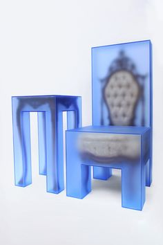 & Joyce Lin Reimagine Antique Furniture in New Conceptual Sculptures: European-style furniture encased in translucent blue acrylic. Unique Furniture, Furniture Design, Paper Bag Design, Assemblage, Milan Design, Shelf Design, Furniture Inspiration, Home Office, Sculptures