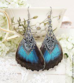 """Купить Серьги с крыльями настоящей тропической бабочки """"Морфа"""" (нижние) - эпоксидная смола, подарок"""