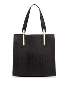 Thea Crocodile-Print Faux-Leather Tote Bag, Black by Neiman Marcus at Neiman Marcus Last Call.