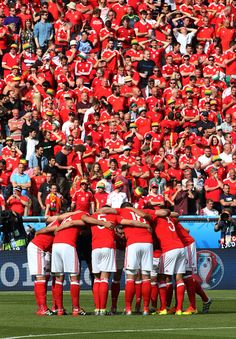 #EURO2016 Players of Wales get together before the UEFA EURO 2016 round of 16 match between Wales and Northern Ireland at Parc des Princes on June 25 2016 in...
