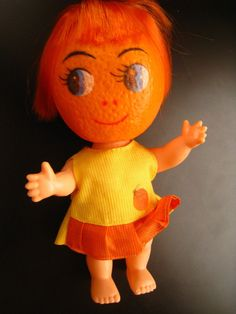 "WOW! I found my ""Orangina"" doll I got in Florida on vacation!! ----Vintage anthropomorphic Fruit-Orange Head person doll plastic Hong Kong-RARE 