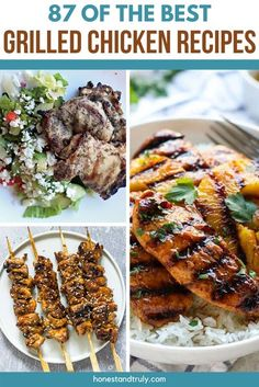 Grilled chicken is one of the best meals, but it can get boring if you do the same thing day after day. These are the most delicious and juicy chicken recipes that are kid friendly dinners everyone will love. It's a perfect summer dinner, or if you're brave, grill and make these easy recipes all year round. Whether you want marinated chicken or chicken with dry rubs, you'll find the perfect recipe in this article. Best Grilled Chicken Recipe, Grilled Chicken Tenders, Marinated Chicken, Healthy Chicken Recipes, Real Food Recipes, Entree Recipes, Grilling Recipes, Easy Recipes, Dinner Recipes