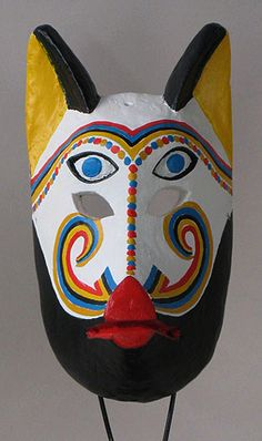 Coyote mask, Suchitlan, Colima, painted wood