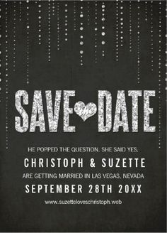 Classy shimmering sparkle save-the-date black and white #invitations.