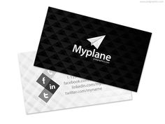 Two sided business card template, black front side with logo and gray back side with details. Simple and modern design, download hi-res Photoshop template.