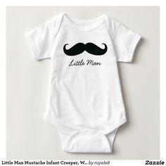 Little Man Mustache Infant Creeper, White Infant Creeper
