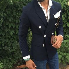Latest Coat Pant Designs Navy Blue Double Breasted Peaked Lapel Formal Custom Wedding Suits For Men Slim Fit 1 Piece Terno 534 Gentleman Mode, Gentleman Style, Terno Casual, Style Masculin, Herren Style, Look Man, Mens Fashion Blog, Men's Fashion, Fashion Guide