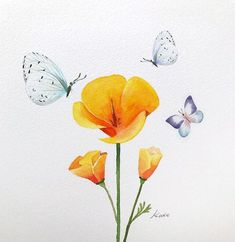 How To Draw Beautiful Flowers Step By Step (Kate Kyehyun Park). Botanical artist Kate Kyehyun Park produces trainings on how to draw flowers in 3 steps in the simplest way. Watercolor Drawing, Watercolor Illustration, Watercolor Paintings, Simple Watercolor, Watercolor Flowers Tutorial, Flower Tutorial, Flower Drawing Tutorials, Art Tutorials, Art Floral