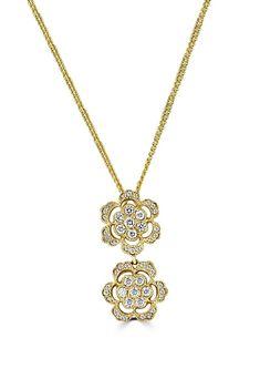 Effy 14K Yellow Gold Diamond Flowers Pendant, 0.98 TCW