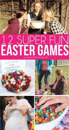 12 of the best Easter games for adults, for kids, or for teens! Play these with your family on Easter Sunday or hold an outdoor party at your church with and play these with family and friends! They're minute to win it style games so they work for all age Easter Games For Kids, Easter Party Games, Birthday Games For Adults, Outdoor Games For Kids, Kids Party Games, Easter Activities, Birthday Party Games, Easter Outdoor Games, Party Activities
