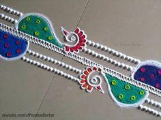 Easy and quick peacock border rangoli design Rangoli Designs For Competition, Rangoli Designs Flower, Small Rangoli Design, Rangoli Border Designs, Rangoli Designs Diwali, Flower Rangoli, Beautiful Rangoli Designs, Kolam Designs, Diwali Rangoli