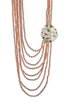 Danielle Stevens  Floral Brooch & Pink Glass Beaded Multi-Strand Necklace