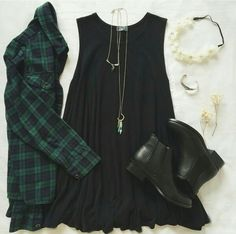 Cute outfit for a fall day that isn't too cold! Love the girly touch the dress gives it!:)