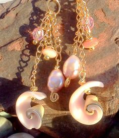 Pink Shells And Pearls Earrings
