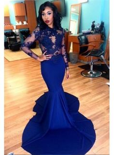 USD$189.00 - Delicate Royal Blue Lace Appliques Evening Dress 2016 Mermaid Long Sleeve - www.27dress.com
