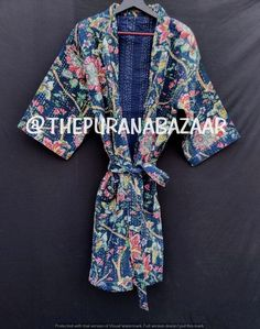 Floral handmade kantha jacket reversible kimono floral print kimono style Floral kantha robe winter jacket multi colored unique belt coat Boho Kimono, Kimono Fashion, Kimono Style, Women's Fashion, Cotton Kimono, Cotton Jacket, Cotton Fabric, Kimono Jacket, Kimono Dress