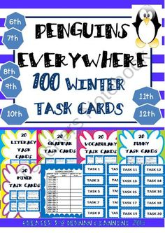 Winter Themed Task Cards- 100 Task Cards for Elementary Students from Hugs in! on TeachersNotebook.com (65 pages)  - These 100 task cards are based on literacy, grammar, vocabulary, fun and mix activities for homework at primary or secondary levels.