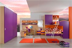 Stylish Young Girls Bedroom with Bunk beds in Purple and Orange Painting Scheme