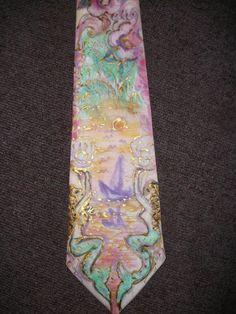 Handbemalte Krawatte 100% reine Seide von Amina-Marei auf DaWanda.com