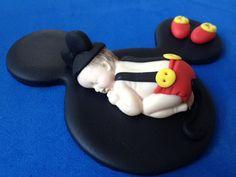 Fondant mickey mouse baby cake topper by evynisscaketopper on Etsy, $22.00