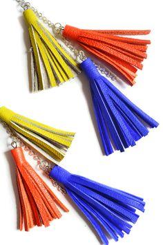 Leather Tassel Earrings Long Dangle Earrings by BooandBooFactory