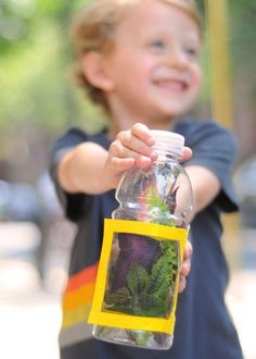 #Nature hits home for kids when you craft a bug habitat from an empty, clean plastic bottle, screen material, tape, and velcro.