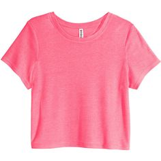 H&M Ribbed jersey top ($6.24) ❤ liked on Polyvore featuring tops, neon pink, neon pink top, ribbed top, h&m, h&m tops and short tops
