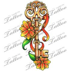 Marketplace Tattoo Vintage Key with flowers and a ribbon #14683 | CreateMyTattoo.com