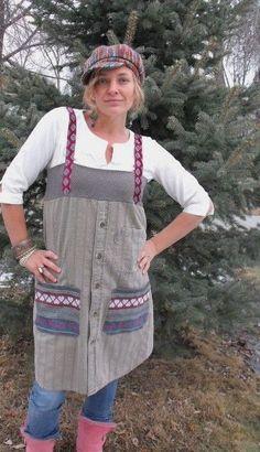 Jumper Kleid, Upcycled Herren Shirt mit Vintage Krawatte Riemen, natürliche gewebt, Größe S/M