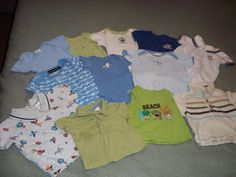 Lot of 18 Baby Bodysuit Rompers Shirts Shorts 0-6 Months Fisher Price Carters #Carters