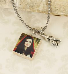 "Once Upon A Time "" Red Riding Hood "" Necklace With Big Bad Wolf Charm - OUAT - Grandmother - Basket - Fairy Tale - Into The Woods"