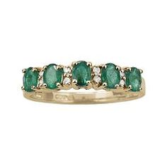 10k Gold Emerald & Diamond Accent Ring