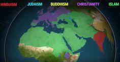 L'évolution des  principales religions dans le monde