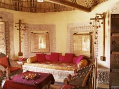 Living room from an adobe home in India.