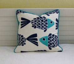 Go Fish Navy and Aqua Fish Design Indoor Outdoor Pillow Cover with Piping - Square, lumbar and Euro Designer Pillow Cover Body Pillow Covers, Pillow Cover Design, Outdoor Pillow Covers, Fish Design, Going Fishing, Home Decor Fabric, Designer Pillow, Fabric Swatches, Basket Weaving