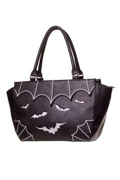 White Bats & Cobweb Gothic Handbag by Banned