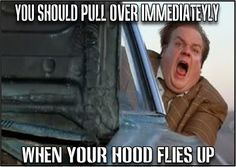 Signs you should pull over immediately. Your hood flies up