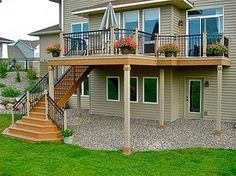 Second Story Deck Stairs Patio Trendy Ideas Large Backyard Landscaping, Backyard Patio, Patio Stairs, Gravel Patio, Patio Table, Second Story Deck, Two Story Deck Ideas, Deck Steps, Cedar Deck