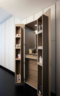 This stand-only dressing table can also be concealed behind cupboard doors when . This stand-only dressing table can also be concealed behind cupboard doors when … Small Closet Storage, Small Bedroom Storage, Small Space Storage, Wardrobe Storage, Bedroom Small, Storage Spaces, Storage Chest, Built In Dressing Table, Wardrobe With Dressing Table