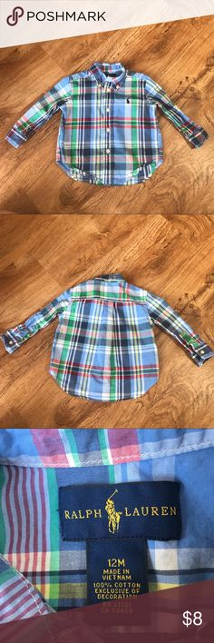 Ralph Lauren Striped Button Down Shirt 12 Months EUC Ralph Lauren Striped Button Down Shirt 12 Months Ralph Lauren Shirts & Tops Button Down Shirts