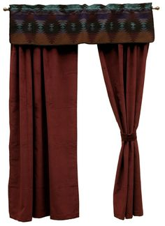The Painted Desert window dressing set consists of a window valance made with the matching Painted Desert fabric and a pair of 84 inch long rod pocket drapery panels made of a luxurious Wine micro-chenille with matching tiebacks.  A wonderful choice to compliment the Painted Desert II bed ensemble set.  However, it will work well with any Southwestern or Western themed room.  *American made to order by Wooded River.  wooded river authorized retailer